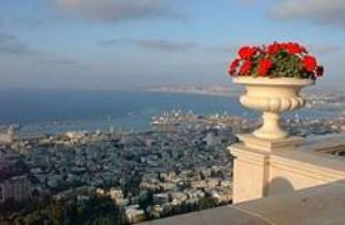 view of Haifa bay from the Bahai gardens