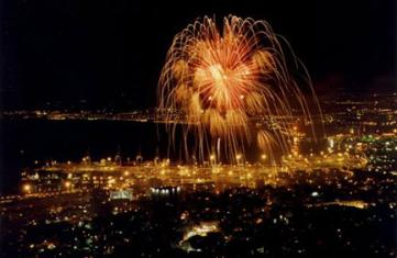 Independance day fireworks over Haifa port